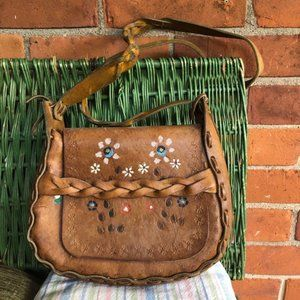 Vintage 1970s leather bag with handpainted flowers